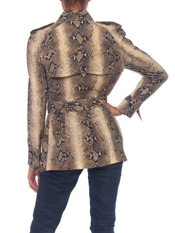 1990S JOHN GALLIANO Deadstock NWT Snake Snakeskin Print Light-Weight Wool Jacket