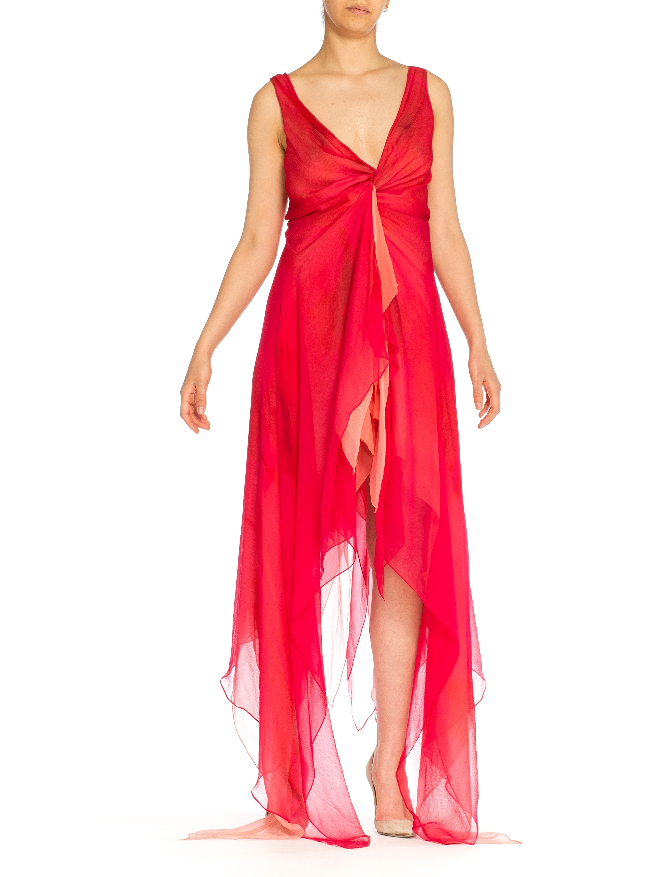 Red and Pink Chiffon Donna Karan