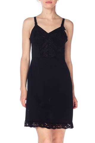 1950S Black Nylon & Lace Slip Dress With Fitted Bra Cups
