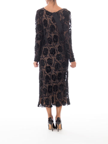 Late 1970s Stavropoulos Velvet and Lurex Burnout Dress