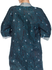 Peacock Feather Jacquard Kimono Jacket