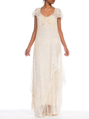 1930S Ivory Bias Silk Gown With Antique Edwardian Bridal Lace  Dress Xl