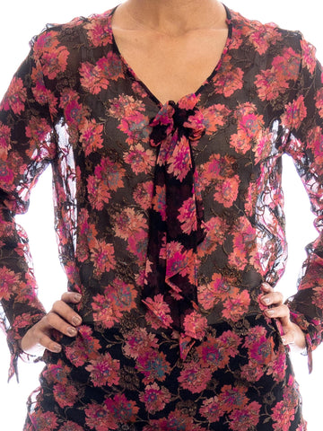 "1920S ""THE OPERA"" Black & Pink Silk Chiffon Floral Lame Embroidered Bow Neck Oversized Blouse"