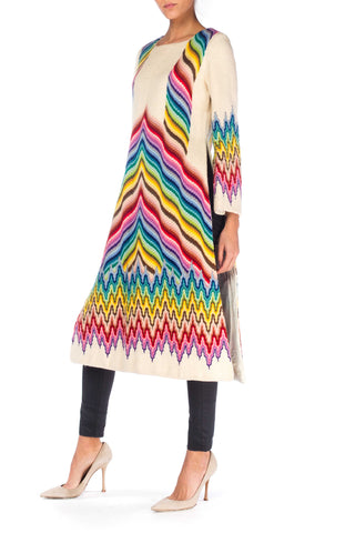 1960S Wool Fully Embroidered Psychedelic Berlinwork Show Piece Dress