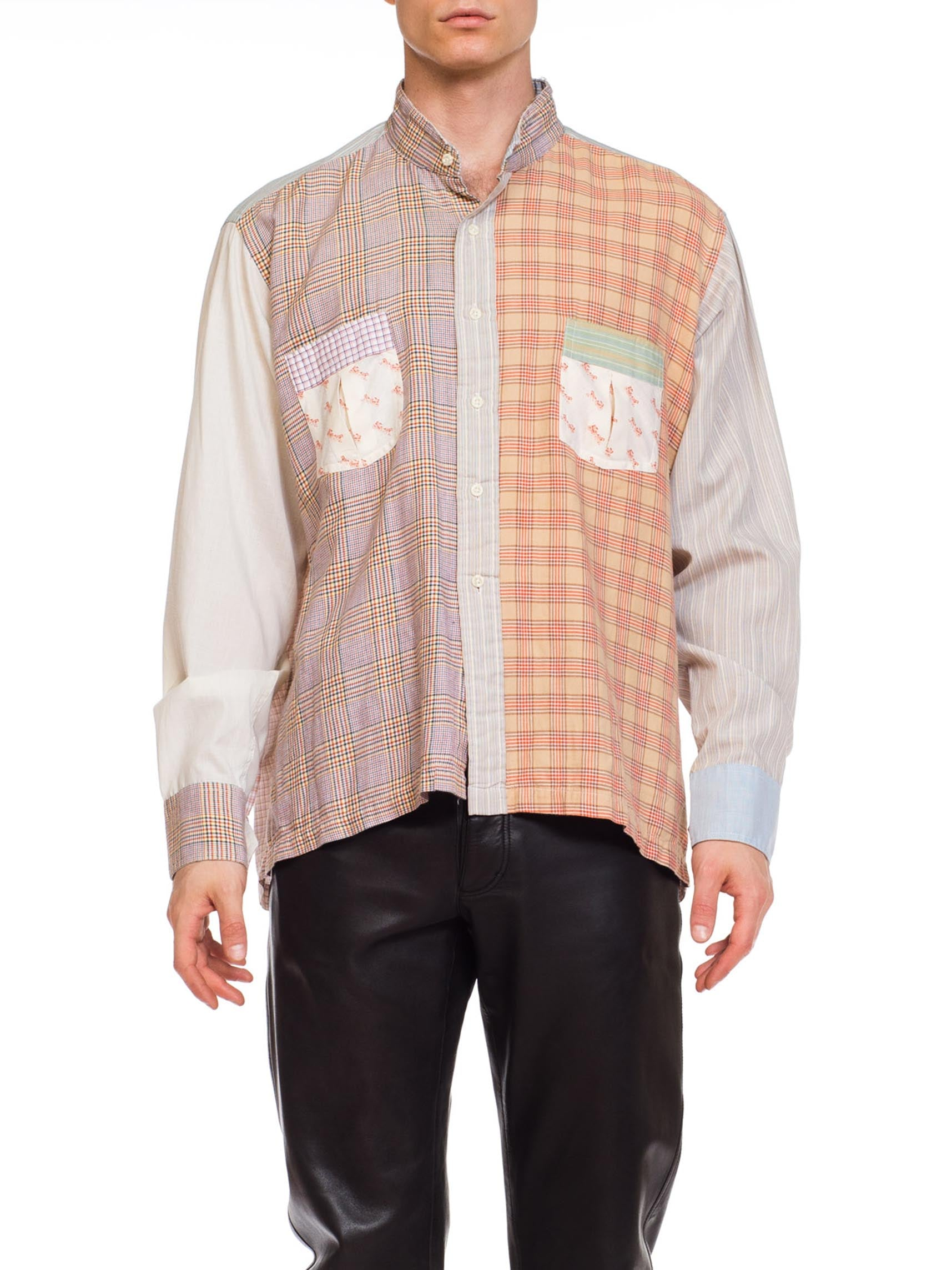 1970S BLOOMINGDALES Cotton Men's Patchwork Plaid Collarless Shirt
