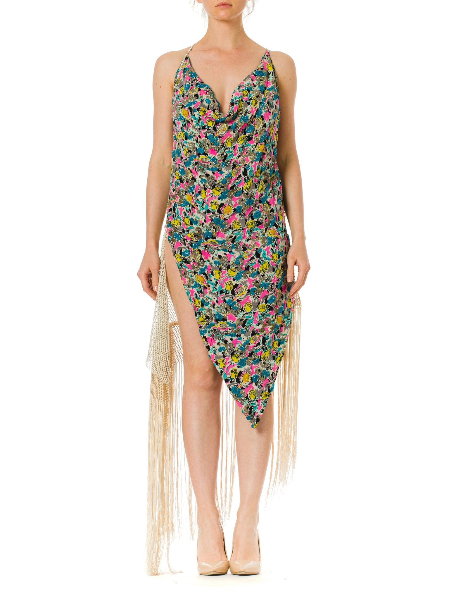 MORPHEW COLLECTION Floral Printed Cocktail Dress Made Of 1940S Beaded Silk And 1930S Fringed Mesh