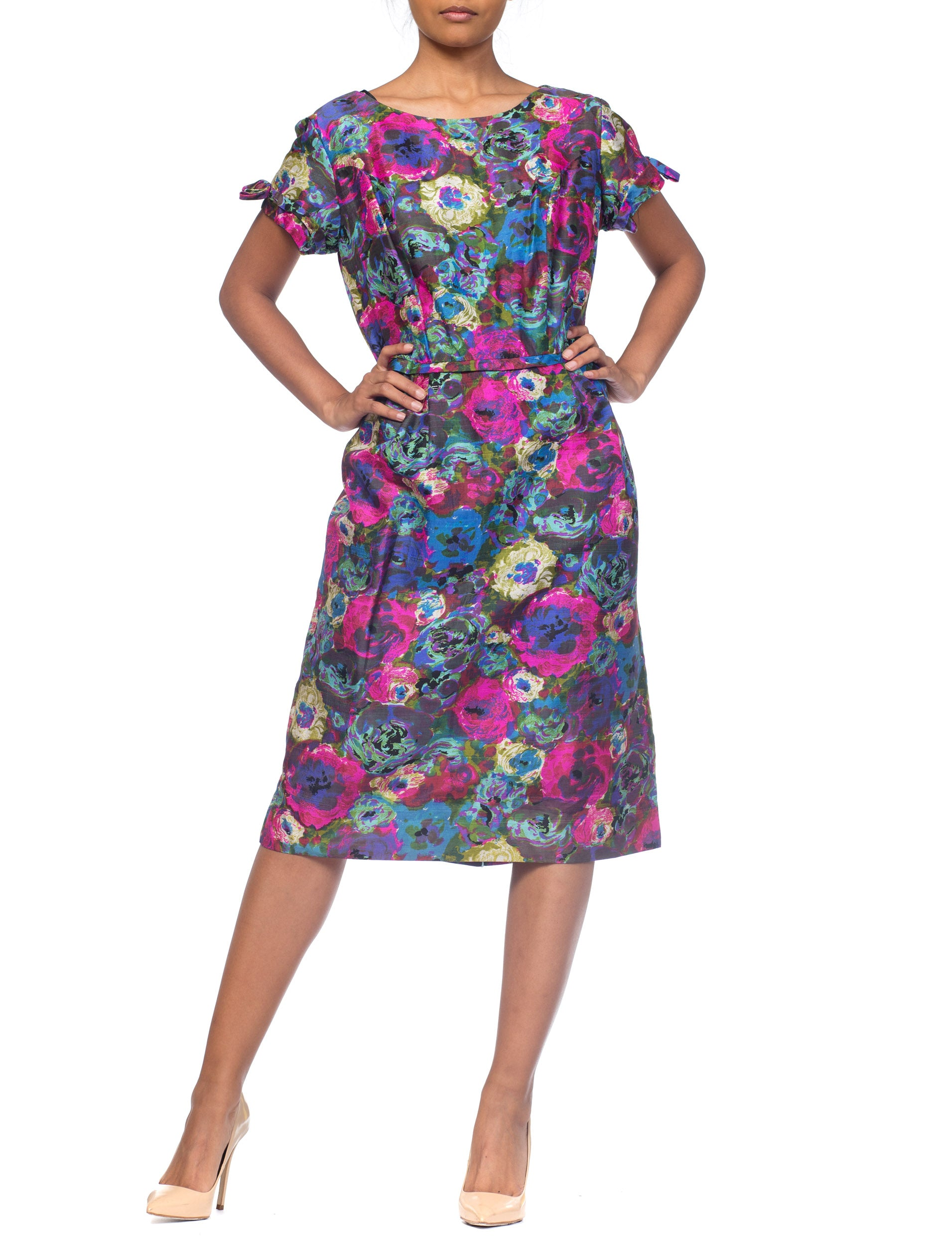 1950S  Pink & Blue Silk Larger Size Floral Cap Sleeve Dress