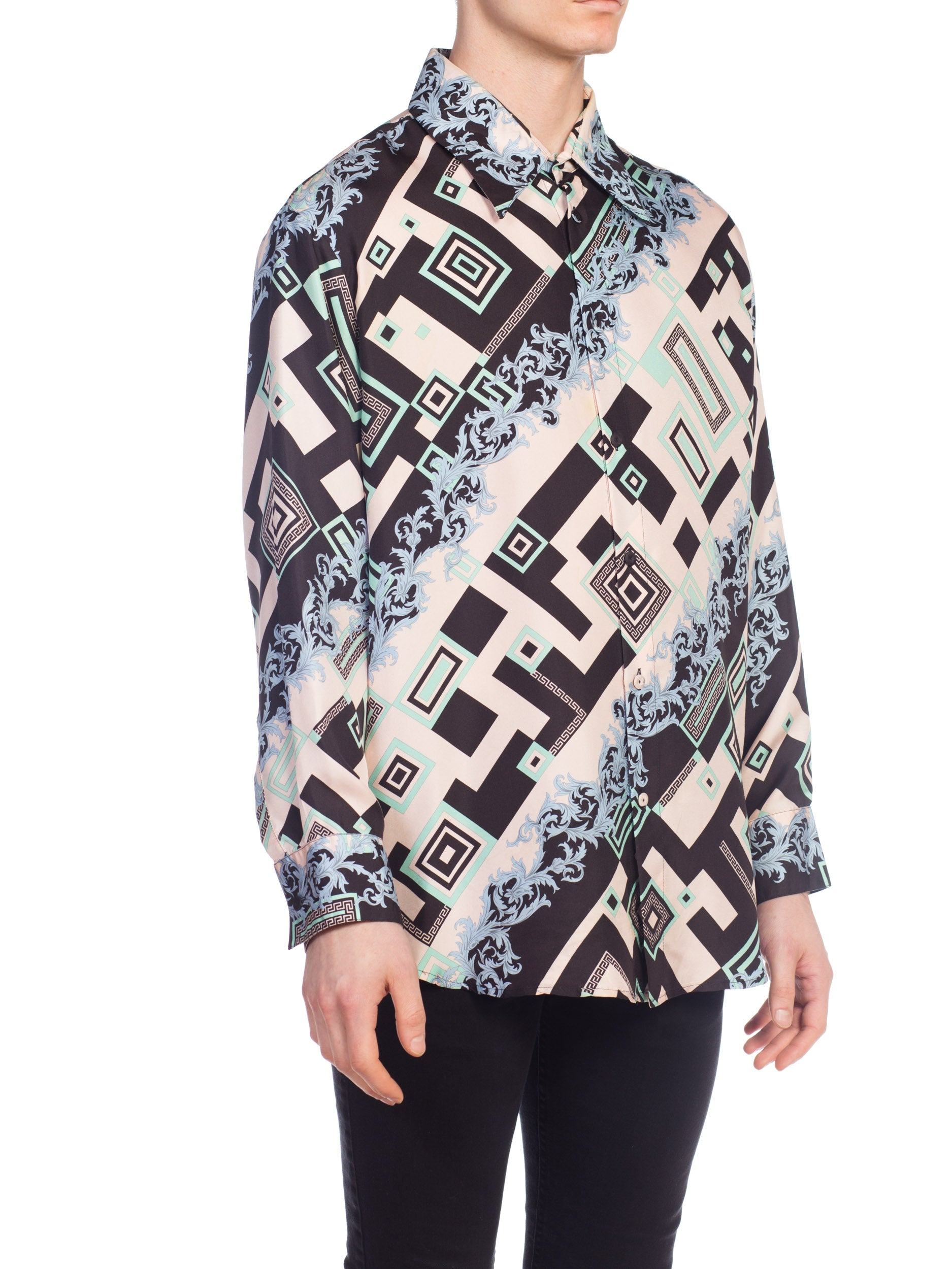 1990S  GIANNI VERSACE Geometric Baroque Silk Atelier Men's Shirt