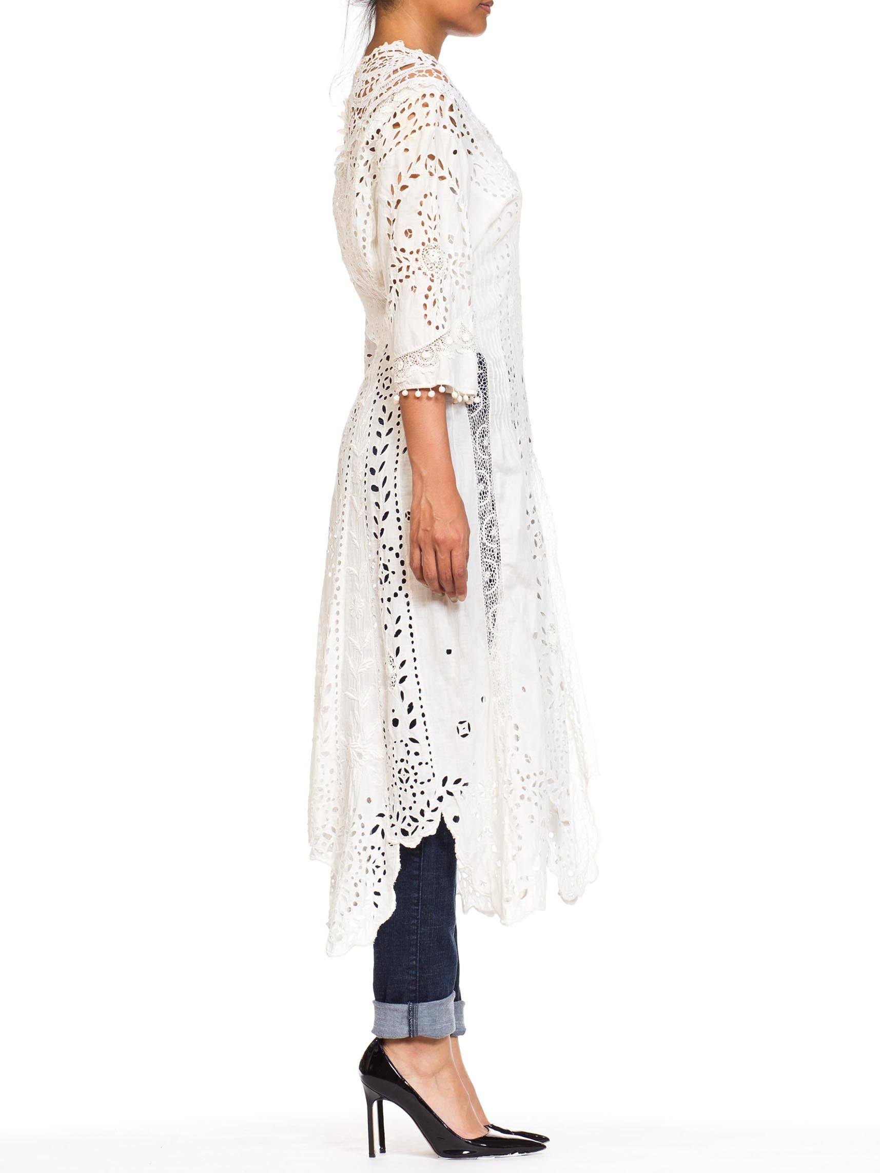 1890S White Victorian Linen & Cotton Hand Made Eyelet Irish Crochet Lace Duster Dress