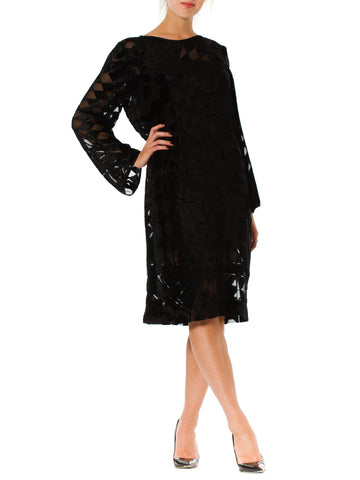 1980S Black Silk Burnout Chiffon Geometric Long Sleeve Tunic Cocktail Dress