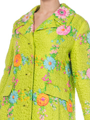 1960s Irene Quilted Floral Silk Coat
