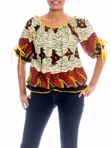 1970S Cotton Boho Batik Dutch Wax Style African Print Blouse