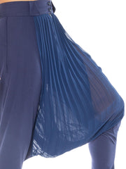 Pleated Chiffon and Wool Drop Crotch Pants