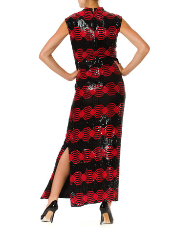 1960S ADELE SIMPSON Black & Red Silk Chiffon Oil Slick Op-Art Geometric Sequin Gown