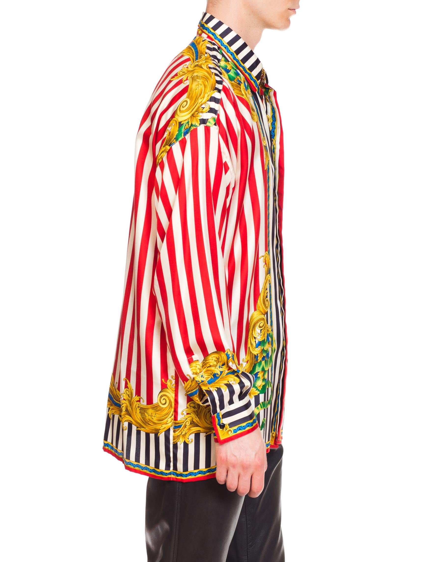 1990S GIANNI VERSACE Red & White Silk Men's Baroque Stripe Shirt