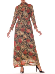 1960s Oscar De La Renta Long SLeeved Lurex Jacquard Floral Print Dress With Ring Trim Detail on Sleeves