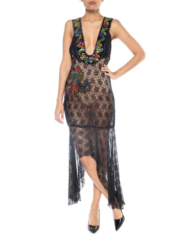Reworked 1930s Sheer Lace Dress with Sequined Bird