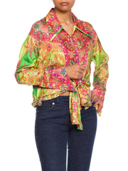 1990s Gianni Versace Punk Safety Pin Collection Paisley Silk Blouse