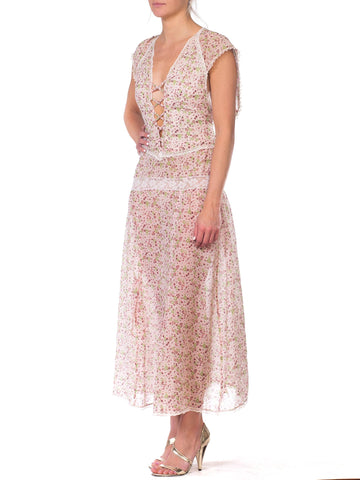 Morphew Collection Backless Maxi Dress Made From 1930S Floral Cotton With Victorian Lace