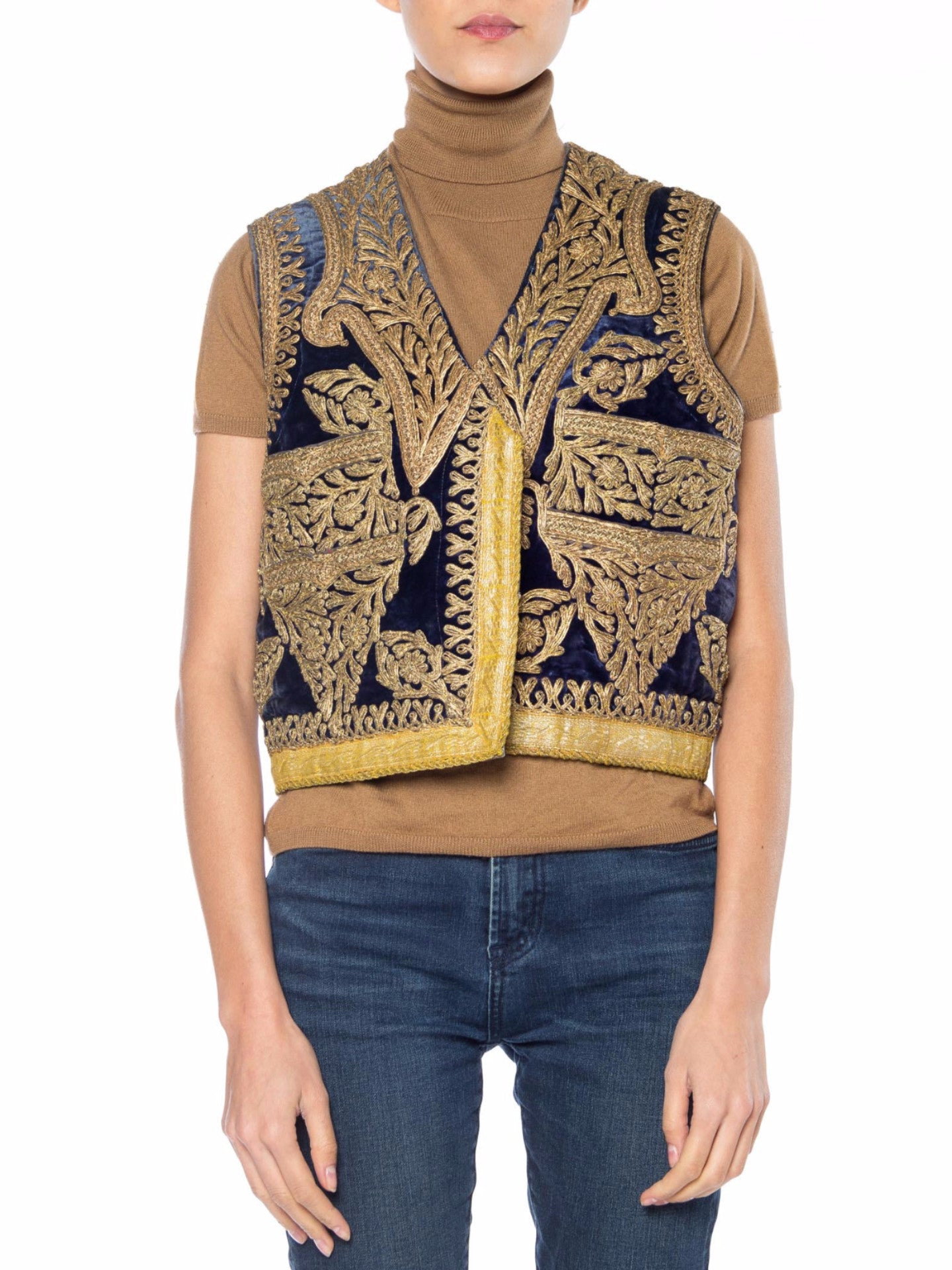 1920S Blue Velvet Mens Boho Vest With Gold Braid Hand Embroidery