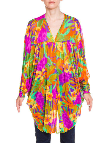 1980s Oscar de la Renta Neon Tropical Print Sheer Beach Cover-up