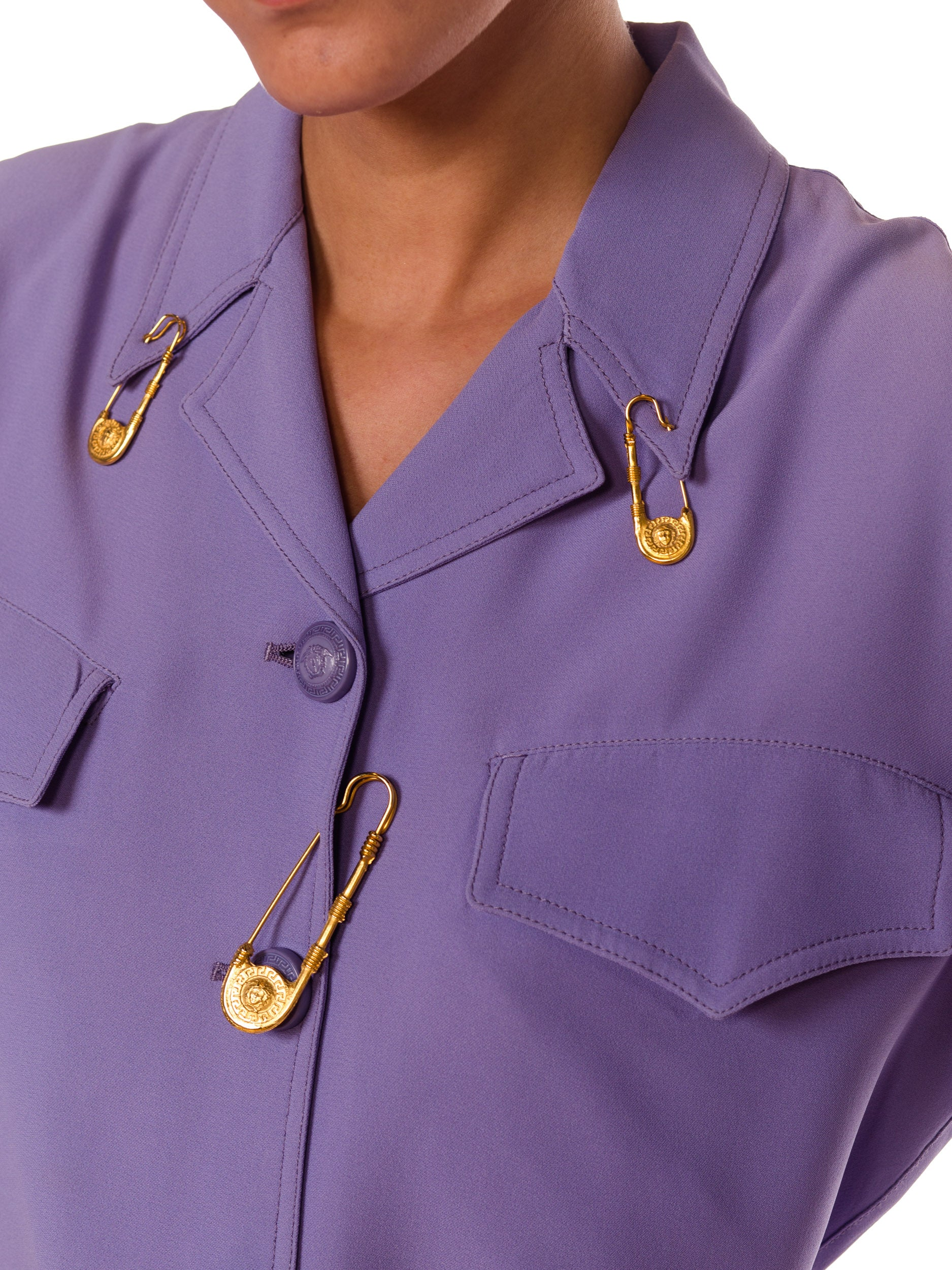 1990S GIANNI VERSACE Lilac Rayon Blend Crepe Safety Pin Suit Set