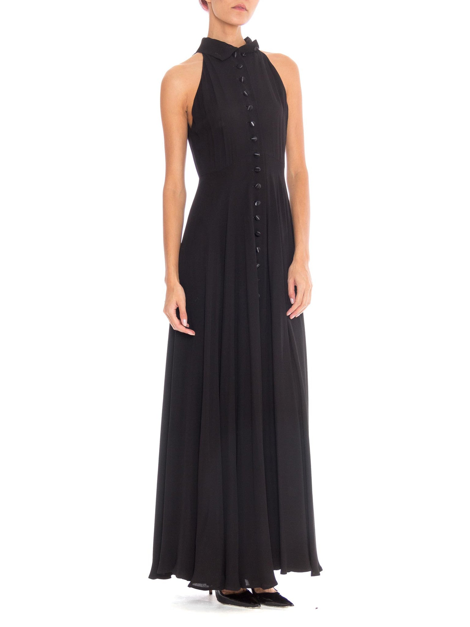 1990s Black Button Front High Neck Maxi Dress