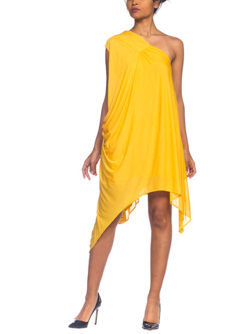 Yigal Azrouel 80s Style Yellow Jersey Dress