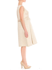 1960s Reflet de Paris Champagne Woven Silk Belted Shift Dress