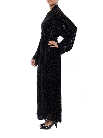 1920S Black Silk Burnout Velvet Wrap Robe With Interior Tie