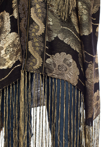1920S Morphew Collection Lamé Gold Floral Kimono With Fringe