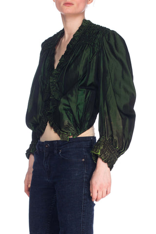 1890S Silk Green Victorian Top