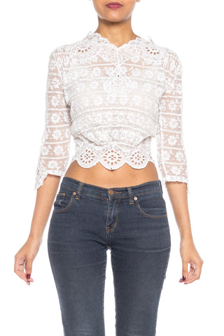 Edwardian White Lace Top With Scalloped Hem