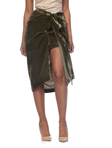 2000S VIVIENNE WESTWOOD Olive Green Silk Blend Velvet Anglomania Draped Skirt NWT