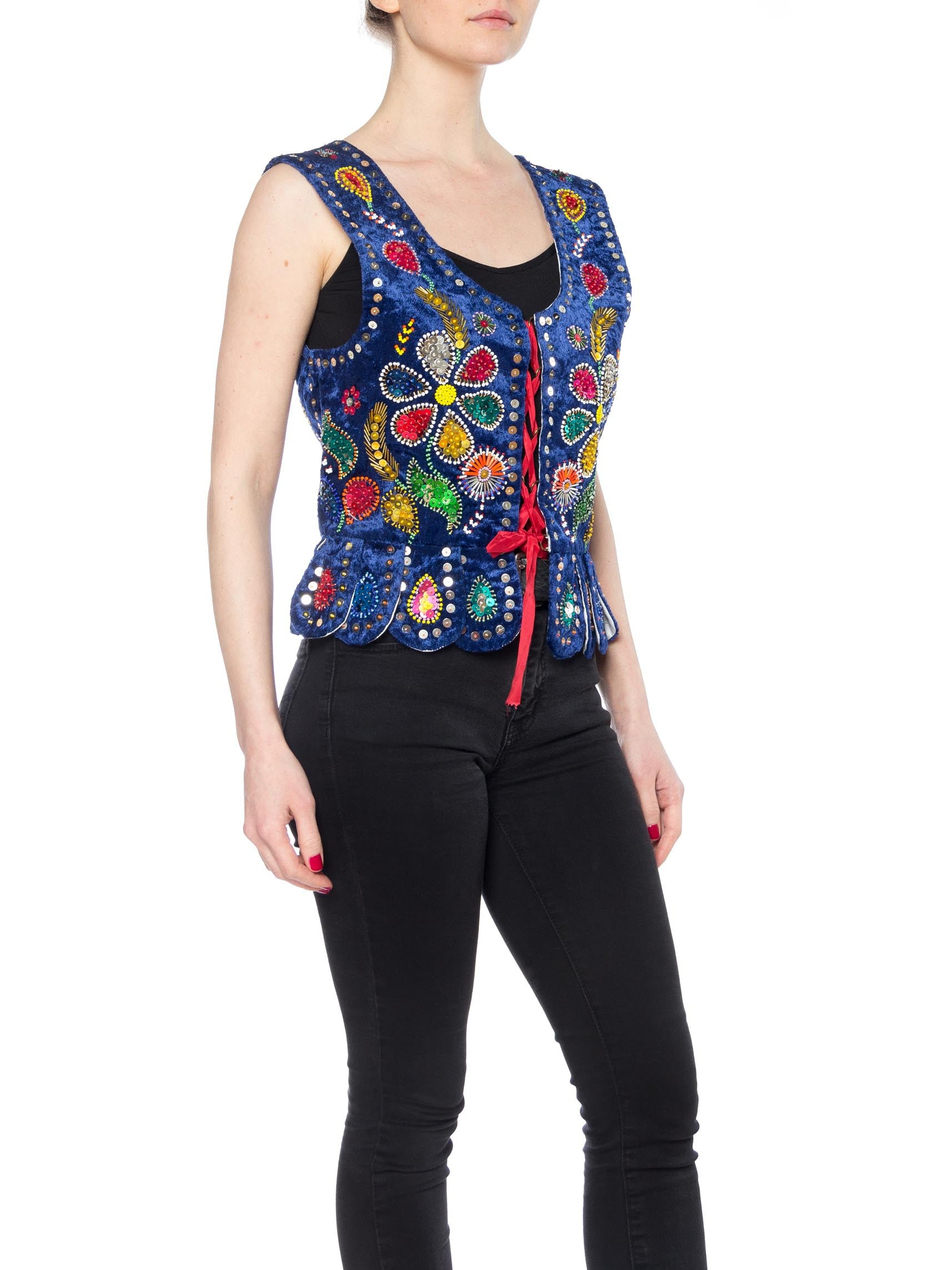 1970S Blue Cotton Velvet Boho Vest With Lacing, Floral Sequins And Beading