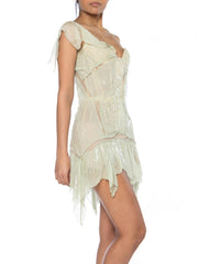 Roberto Cavalli Corset Dress Draped in Chiffon and Bead Fringe 2003