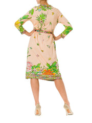 1960S Pink  Floral Polyester Jersey Bow Waist Long Sleeve Mini Dress
