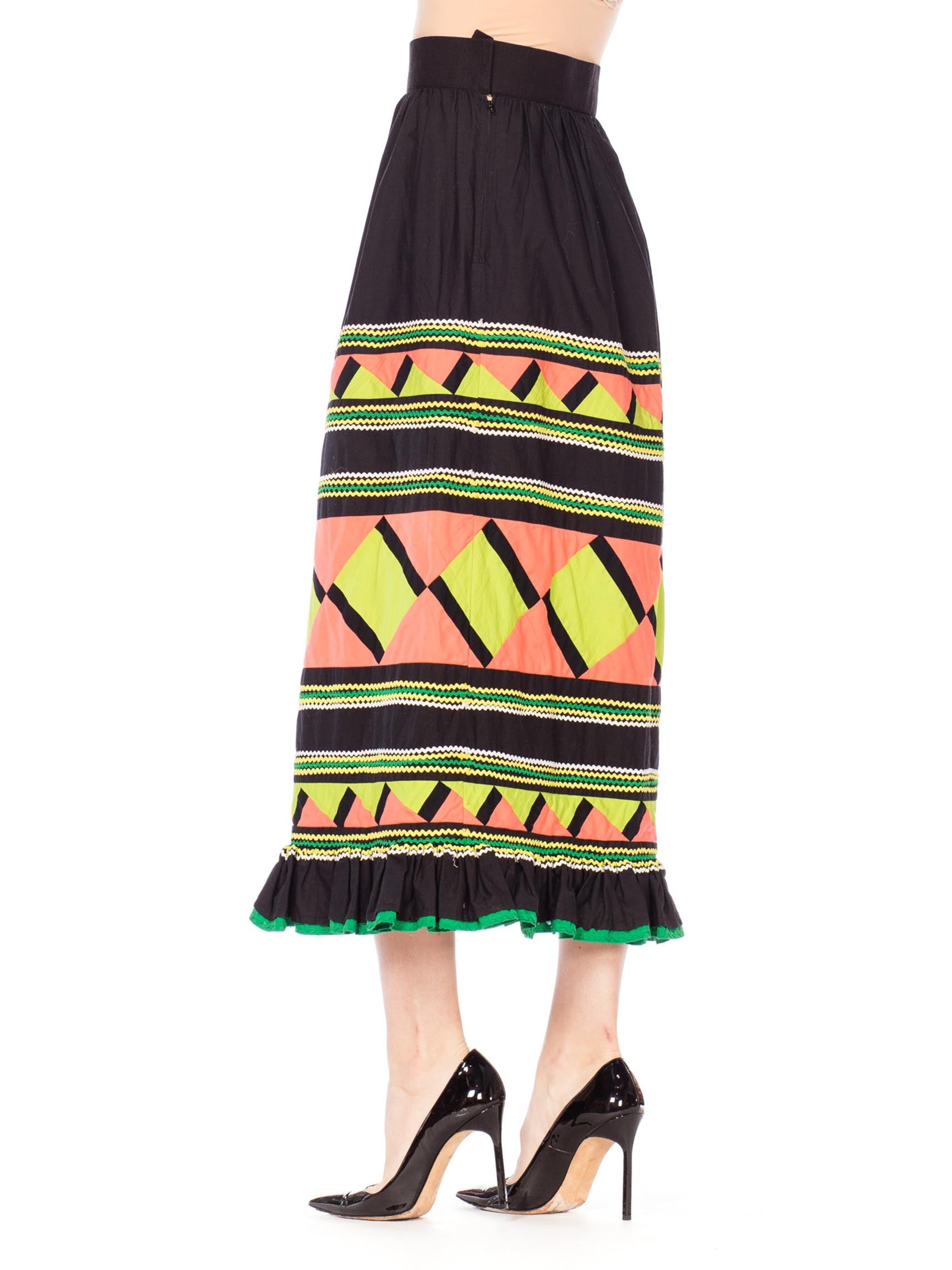 1970S Black Patchwork Cotton Seminole  Skirt With Lime Green & Peach
