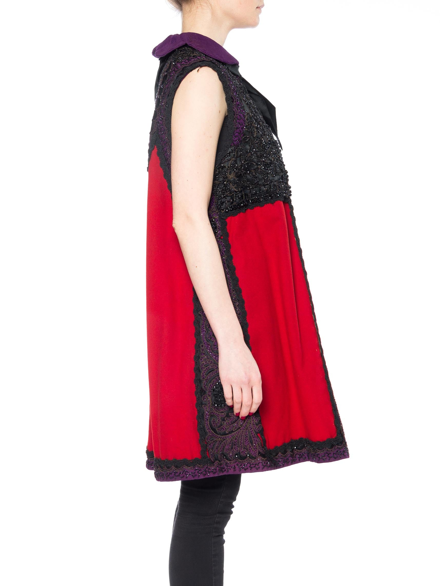 MORPHEW COLLECTION Red & Black Silk Wool Vest Made With Victorian Fabric, Beadwork &Trims