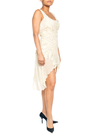 MORPHEW COLLECTION Ecru Cotton & Victorian Linen Lace Dress