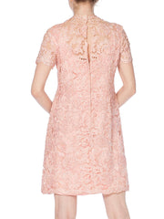 1960s Lace Soutache Lurex Mock Neck Mod Minidress