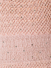 1950s Pink Crochet Knit Dress Embellished with Crystals