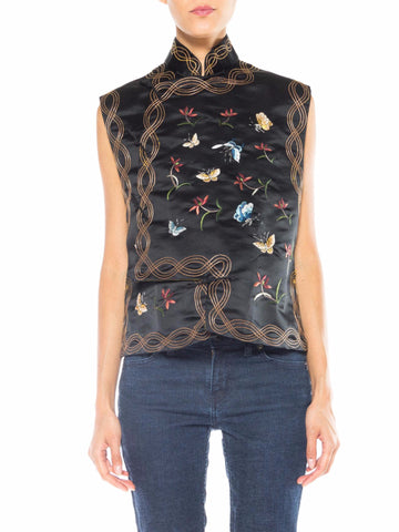 Asian Embroidered Top with Flowers and Butterflies
