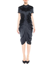 John Galliano Sleek Black Fitted Vintage Qipao-Style Collared Dress