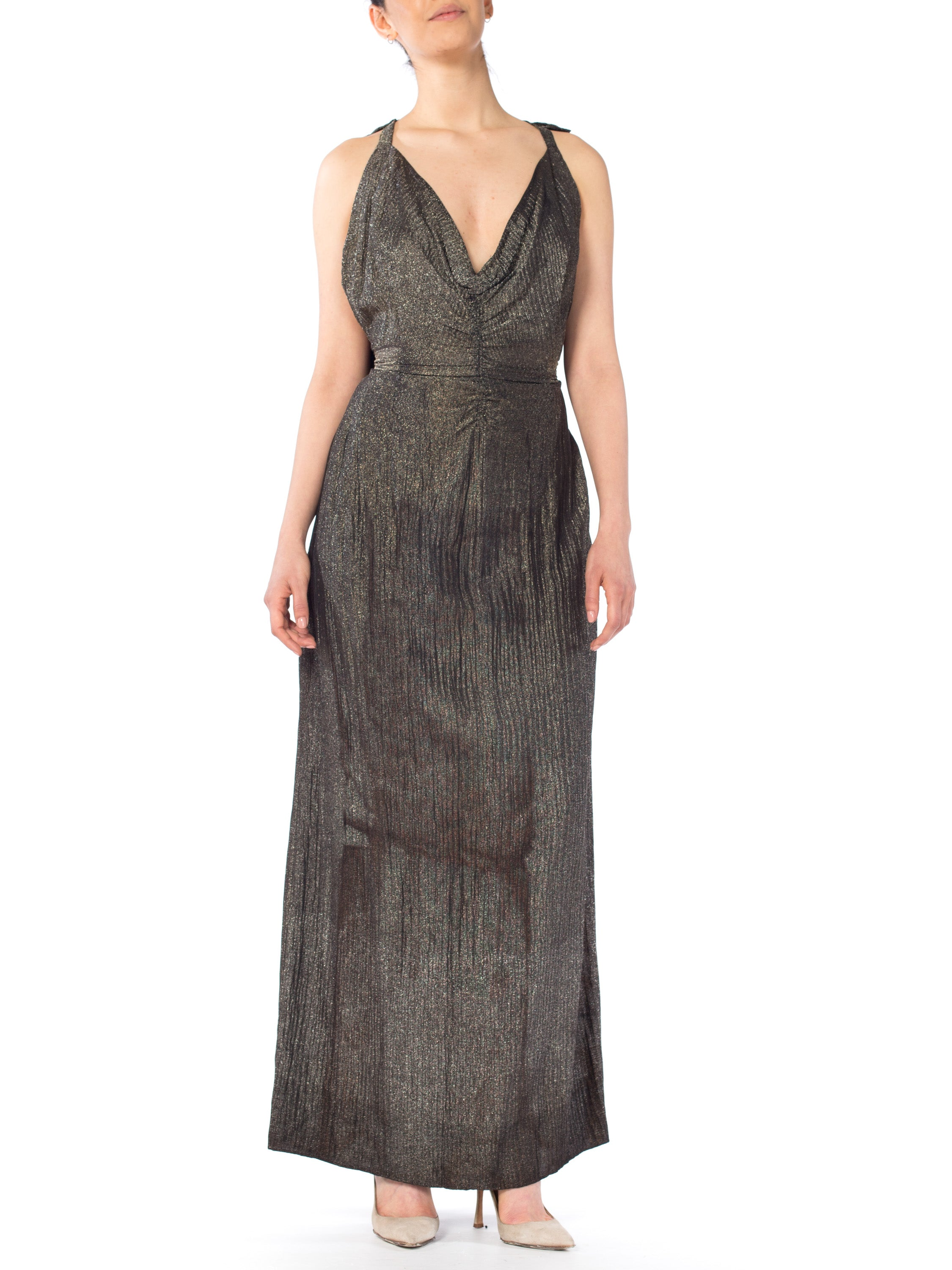 MORPHEW COLLECTION Black & Gold Antique Patina Silk Lamé  Gown With Low Back And Caped Train