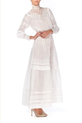 Victorian High Neck Lace and Cotton Dress