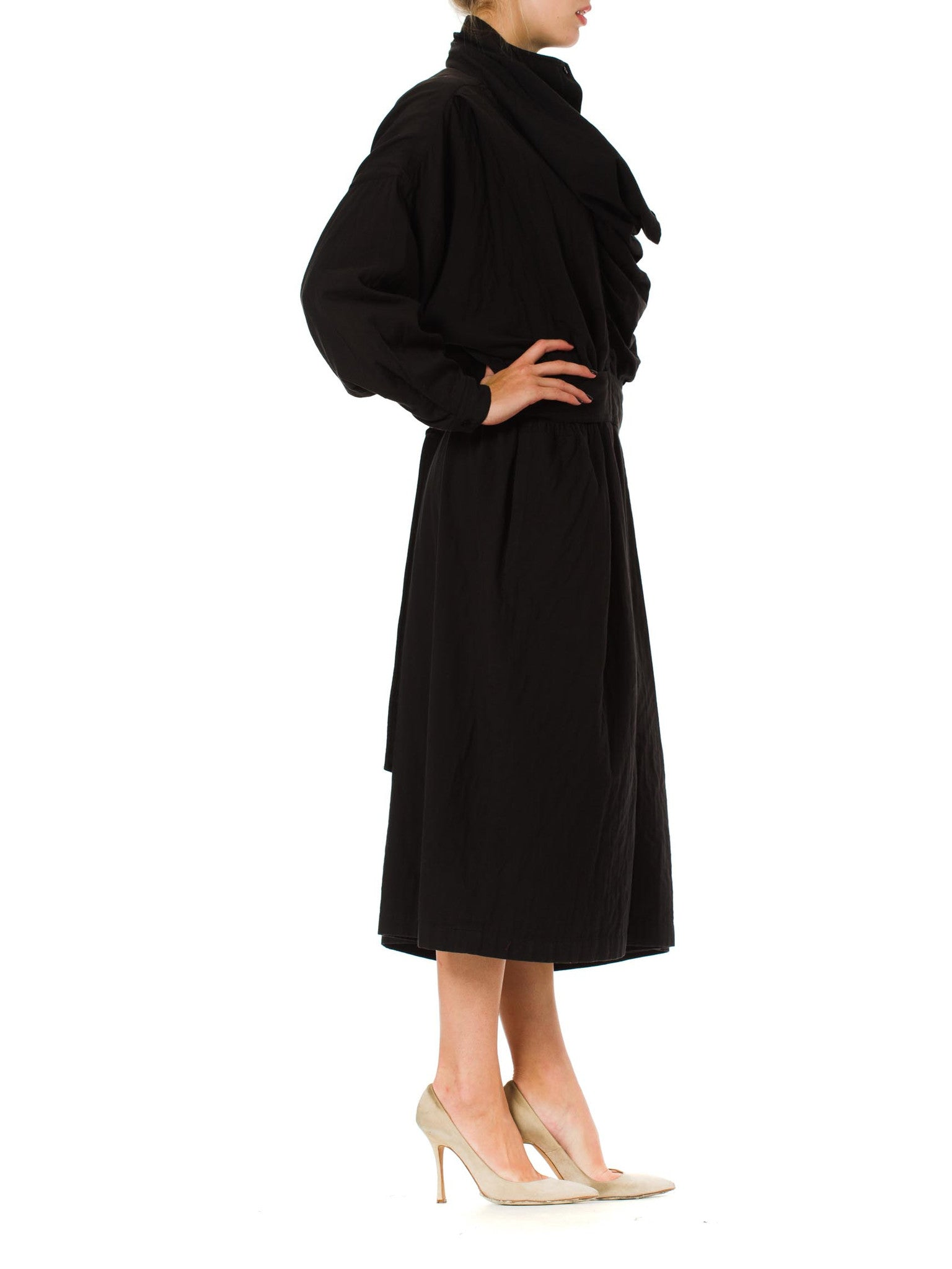1980S ISSEY MIYAKE Black Cotton Dress With Draped Neck & Sleeves