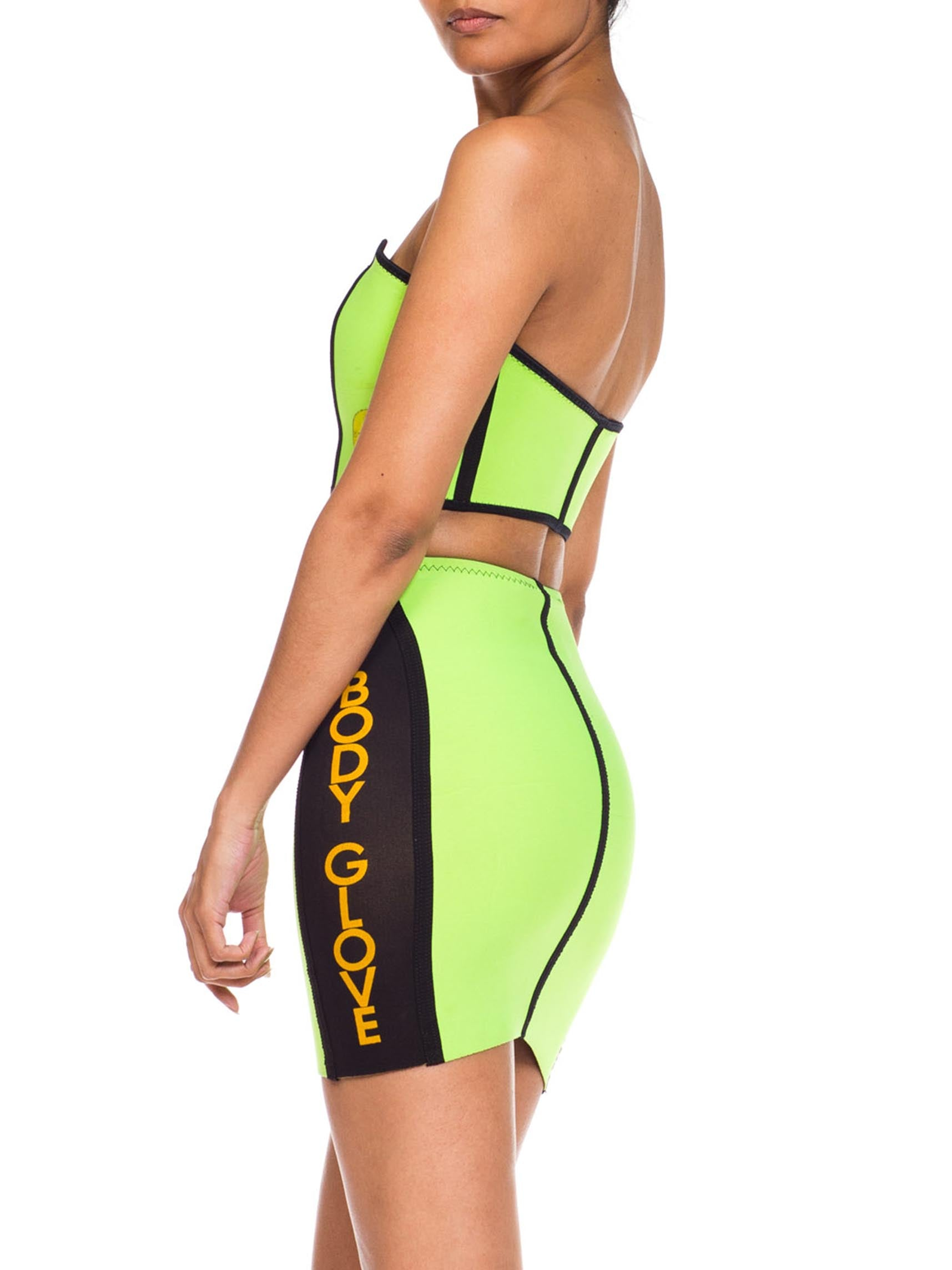 1980S BODY GLOVE Neon Lime Green Neoprene Strapless Zip Up Bra Top & Mini Skirt Ensemble