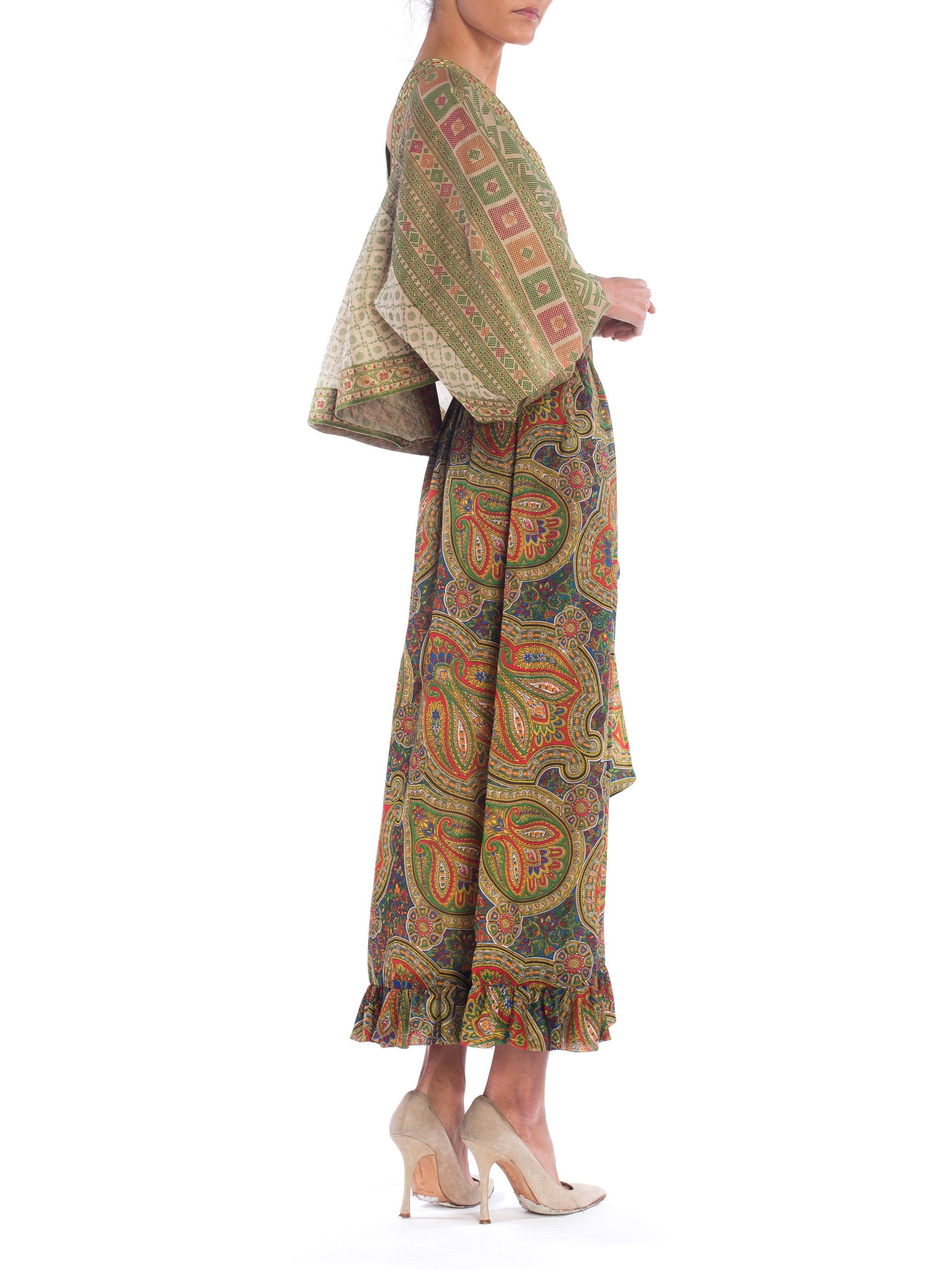 MORPHEW COLLECTION Silk & Cotton Indian Paisley Wrap Maxi Dress