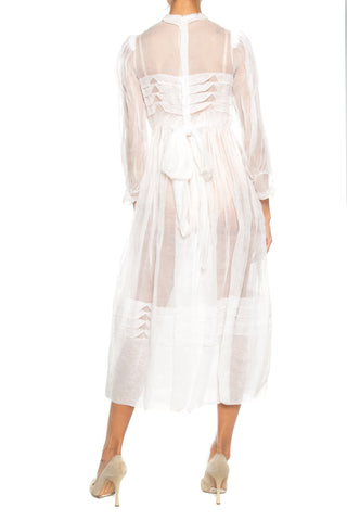 1960S White Cotton Organdy French Couture Dress With Collar & Pleated Detail
